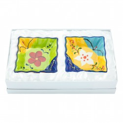 FLOWER SET2 PIATTINI QUADR. C/GIFT CM. 9X9X 3 H.