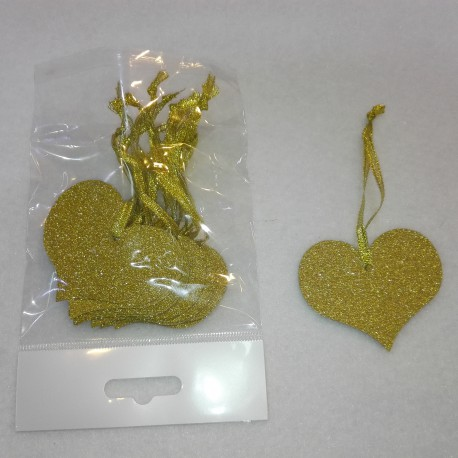 HEART WITH GLITTER 12 PCS/ CM. 6 GOLD