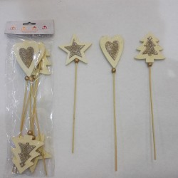 WOODEN PICK - 6 PCS POLYBAG ASS. STEL. ALB. CUO.