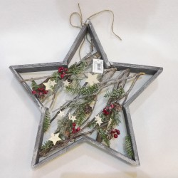 WOOD STAR WHITH BERRY AND PINE H. 49 CM. GREY