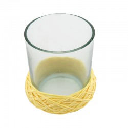 PAPER ROPE WAX CUP YELLOW 9X9X8,5 H.CM.