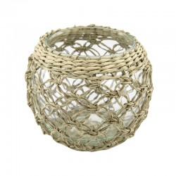 TEALIGHT HOLDER DIA WITH SEAGRASS 11 H. CM.