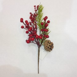 PICK C/BERRIES AND LEAVES 30 CM. RED