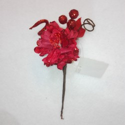 FLOWERS GLITTERED 16X6CM. RED